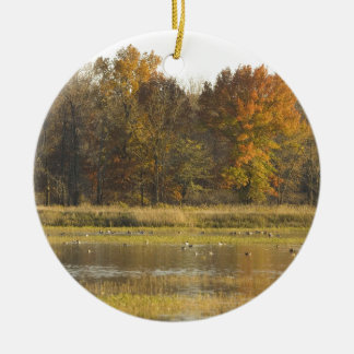 WETLAND WITH AUTUMN TREES IN BACKGROUND AND DUCKS Double-Sided CERAMIC ROUND CHRISTMAS ORNAMENT