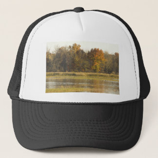 WETLAND WITH AUTUMN TREES IN BACKGROUND AND DUCKS TRUCKER HAT
