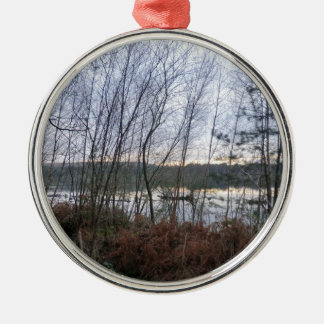 Wetlands and Blakemere Moss in Delamere Forest Round Metal Christmas Ornament