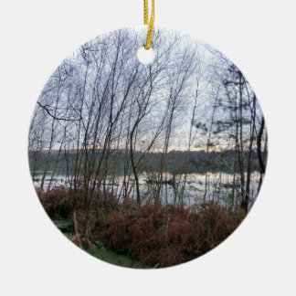 Wetlands and Blakemere Moss in Delamere Forest Double-Sided Ceramic Round Christmas Ornament