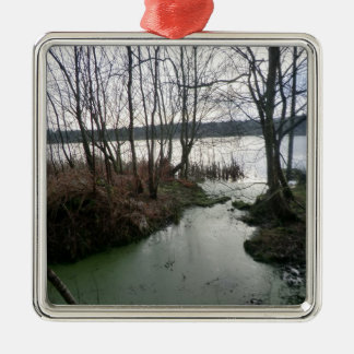 Wetlands Around Blakemere Moss Square Metal Christmas Ornament