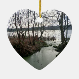 Wetlands Around Blakemere Moss Double-Sided Heart Ceramic Christmas Ornament