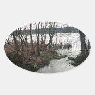 Wetlands Around Blakemere Moss Oval Sticker