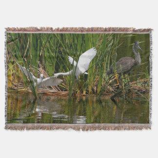 Wetlands Birds Wildlife Herons Throw Blanket