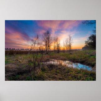 Wetlands/Grasslands Sunset Poster