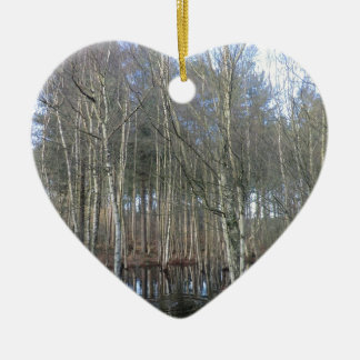 Wetlands in Delamere Forest Double-Sided Heart Ceramic Christmas Ornament