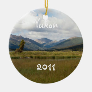 Wetlands Paradise; Yukon Territory Souvenir Double-Sided Ceramic Round Christmas Ornament