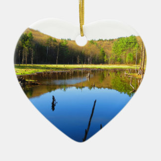 Wetlands Waterway Double-Sided Heart Ceramic Christmas Ornament