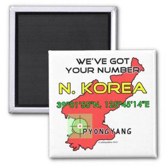 We've Got Your Number North Korea 2 Inch Square Magnet