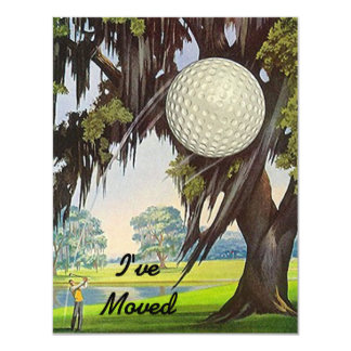 """We've I've Moved Announcement Golf Golfing Move 4.25"""" X 5.5"""" Invitation Card"""
