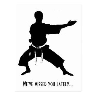 We've Missed You Lately Karate Postcard