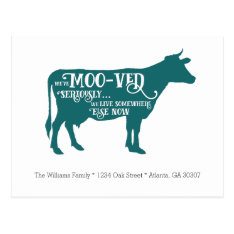 We've Moo-ved | Funny Cow Moving Announcement Postcard at Zazzle