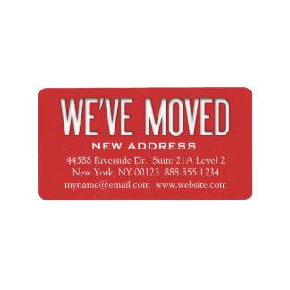 """""""We've Moved"""" Address Change Notification Label Address Label"""