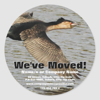 We've moved announcement classic round sticker