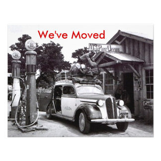 We've Moved Announcement Retro Packed Car & PO