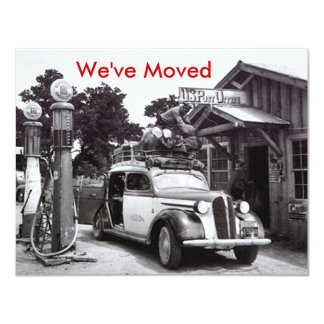 "We've Moved Announcement Retro Packed Car & PO 4.25"" X 5.5"" Invitation Card"