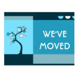 we've moved announcement : retro tree post card