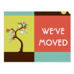 we've moved announcement : retro tree post cards