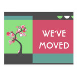 we've moved announcement : retro tree postcards
