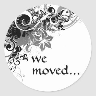 we've moved announcement round sticker