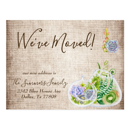we ve moved announcement succulent terrarium postcard zazzle com