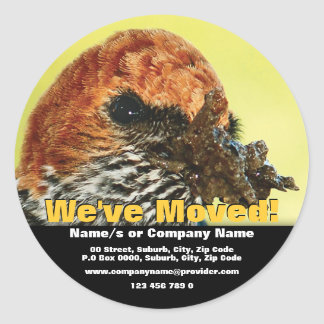We've moved announcement template classic round sticker