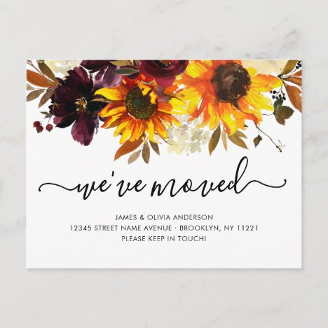 We've Moved Autumn Boho Sunflower Blooms Moving Announcement Postcard