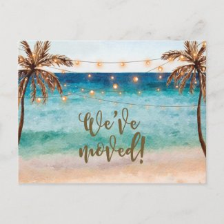 We've moved beach scene change of address invitation postcard