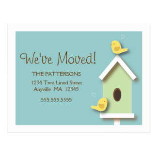 We've Moved Birdhouse New Address Postcard