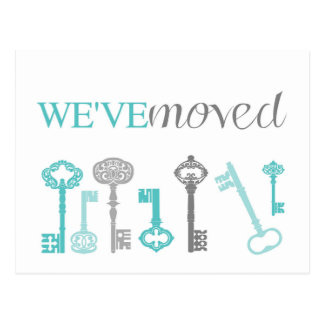 We've Moved - Blue & Grey Keys Postcard