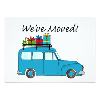 We've Moved Car and gifts Christmas Card