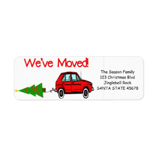 We've Moved Car and tree Christmas label at Zazzle