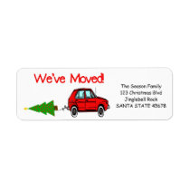 We've Moved Car and tree Christmas label