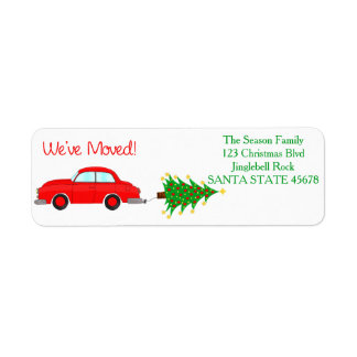We've Moved Car, tree and gifts Christmas label