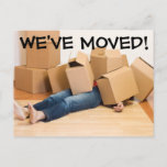 """We&#39;ve Moved Change Of Address Postcard<br><div class=""""desc"""">For a change of address card that people will notice, find funny, and remember! Add your own information on the back by clicking """"Customize It"""" and then the &quot;Add Text&quot; button. Moving is exciting, and now you can make it fun with a """"we've moved"""" post card to tell people about...</div>"""