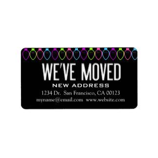 """We've Moved"" Christmas Lights Notification Label"