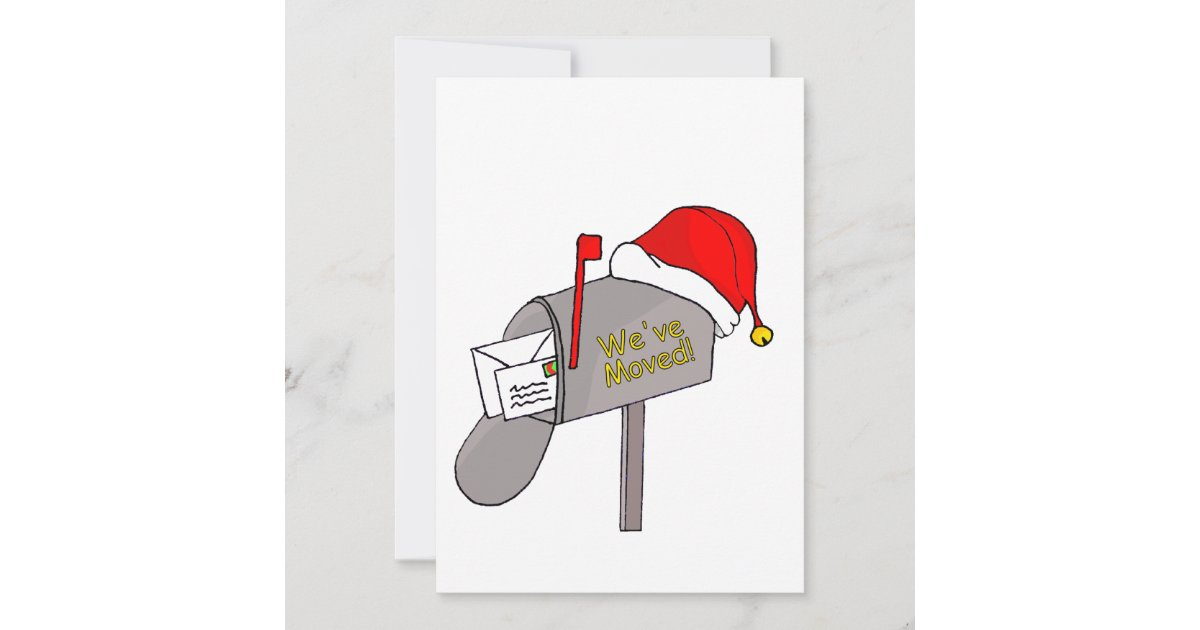 Christmas Mailbox.We Ve Moved Christmas Mailbox Holiday Card Zazzle Com
