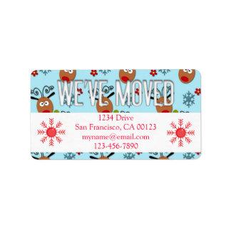 """""""We've Moved"""" Christmas Reindeer Label Address Label"""