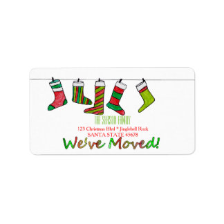 We've Moved Christmas stockings Christmas label