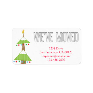 """We've Moved"" Christmas Tree Notification Label Address Label"