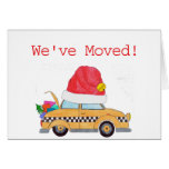 We've Moved Christmas yellow cab Card
