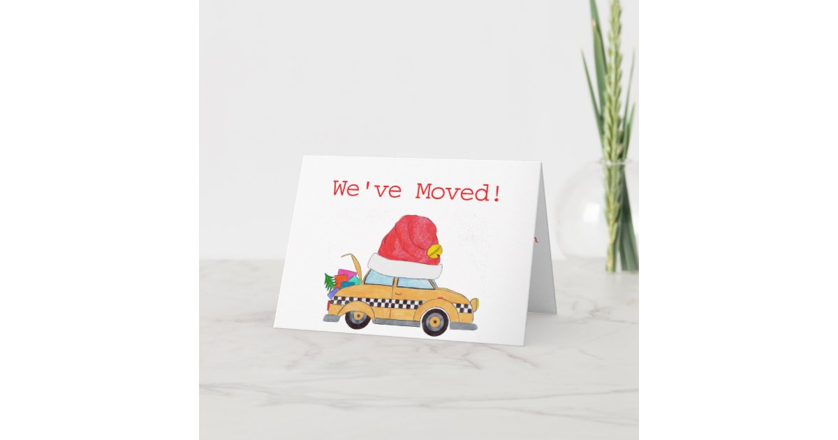 We\'ve Moved Christmas yellow cab Holiday Card | Zazzle.com