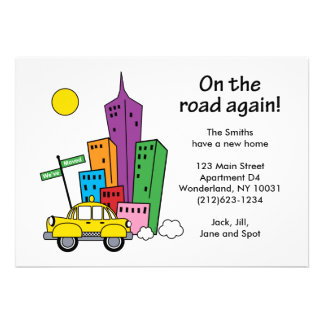 We've Moved Cityscape 5x7 One-sided Card Custom Announcements