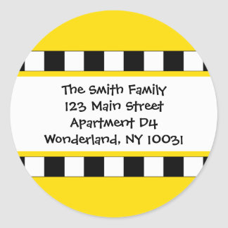 We've Moved Cityscape Address Label Classic Round Sticker