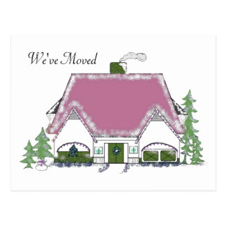 We've Moved Cozy House Design Postcard