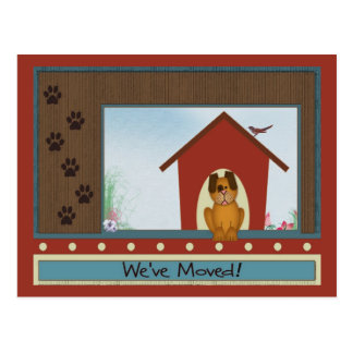 We've Moved Cute Doghouse with Paw Prints Custom Postcard