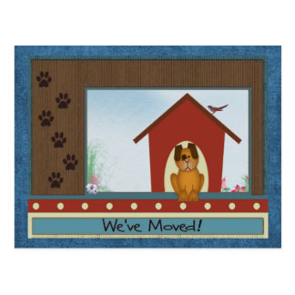 We've Moved Cute Doghouse with Paw Prints Postcards