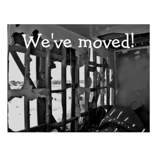 We've moved! destroyed house post card
