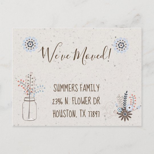 Weve Moved Floral New Address Announcement Modern