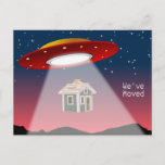 """We've Moved Flying Saucer New Address Announcement Postcard (Visit shop for more moving announcements. Type """"moving"""" in the Searchbox)"""